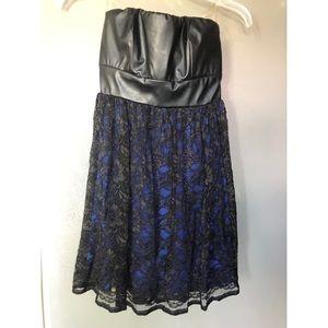 Black lace over blue dress, faux leather top